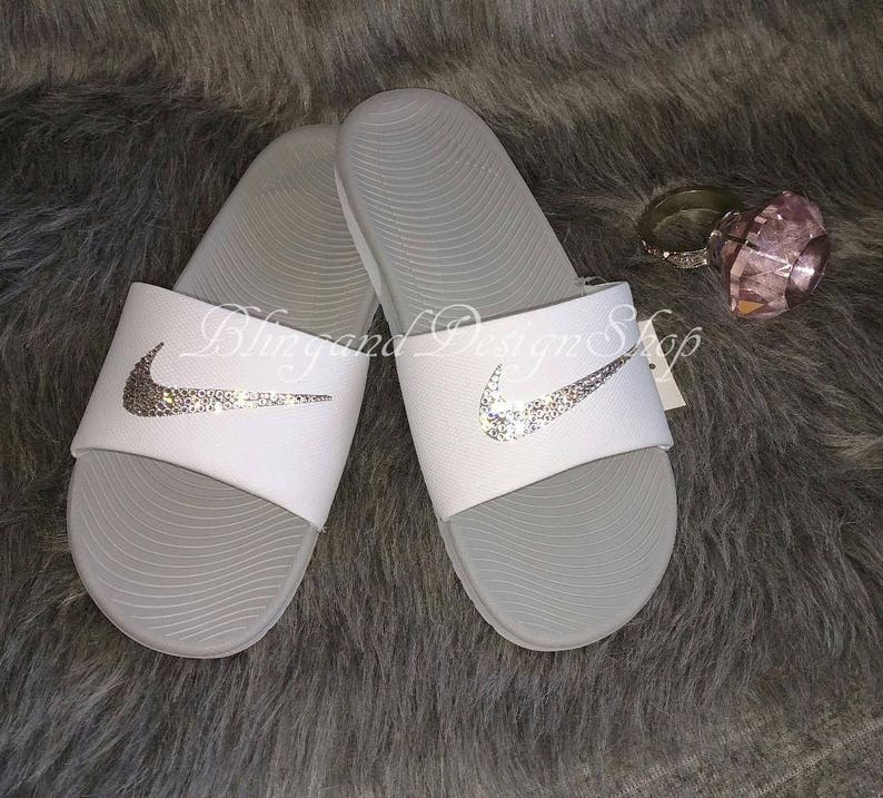 e00590c2ac9068 Bling Swarovski Nike Sandals Kawa Womens Slides Sandals Custom