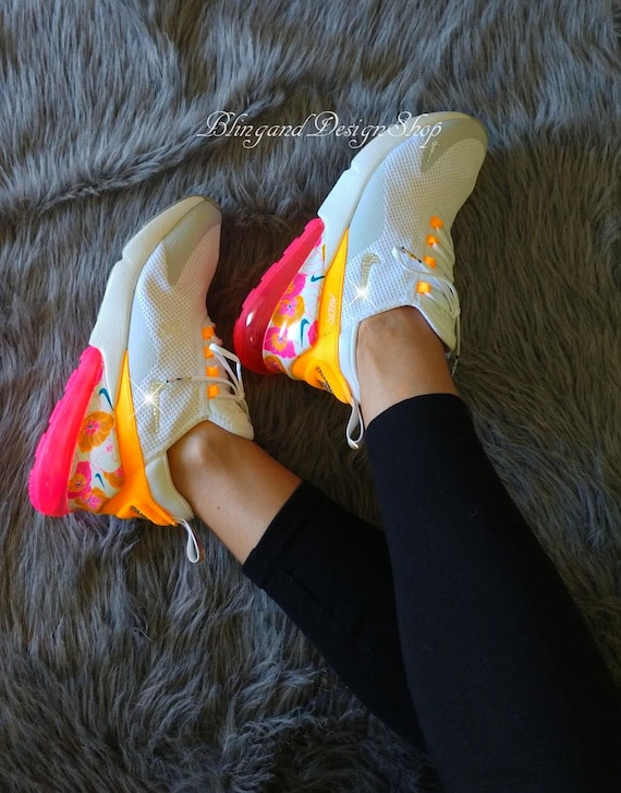 Swarovski Women's Nike Floral Air Max 270 Pink Yellow Sneakers Customized with Swarovski Crystals Custom Bling Nike Shoes