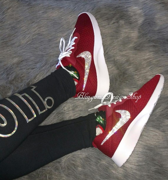 Swarovski Nike Shoes Tanjun Women's Shoes Custom with Crystal Rhinestones Bling Nike Shoes Bridal Shoes
