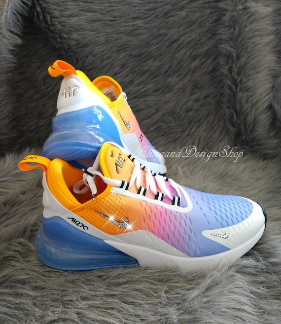 Swarovski Women S Nike Air Max 270 Rainbow Sneakers Customized With Clear Swarovski Crystals Custom Bling Nike Shoes