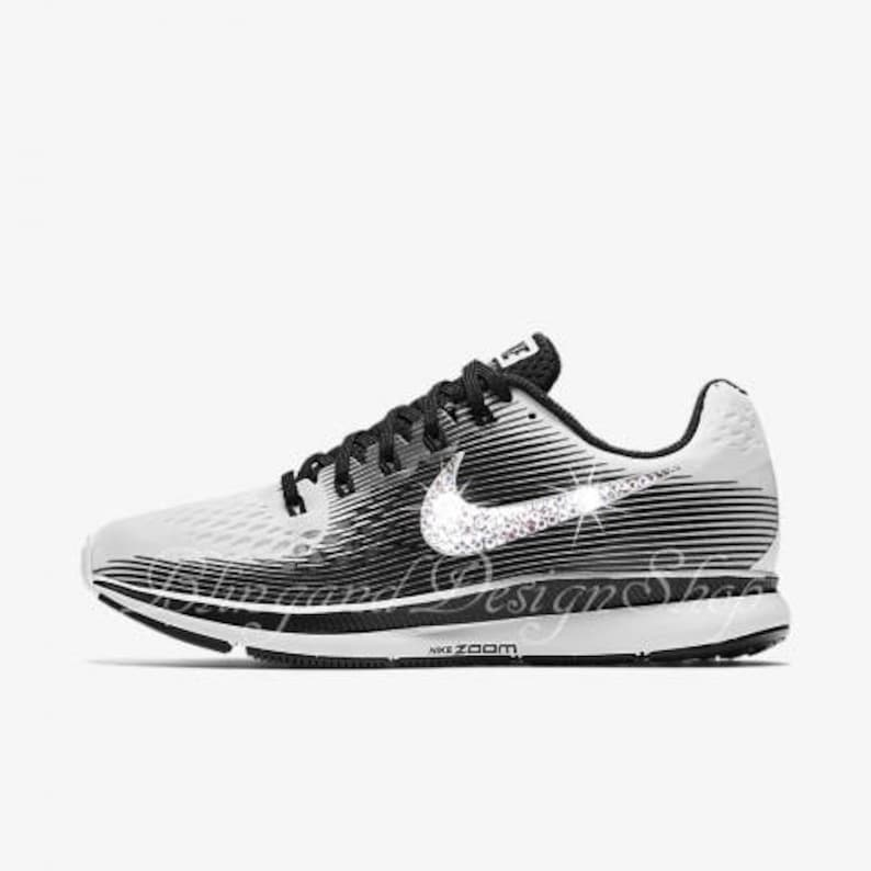 52e10539d0b3 Swarovski Nike Air Zoom Pegasus 34 LE Women s White Black