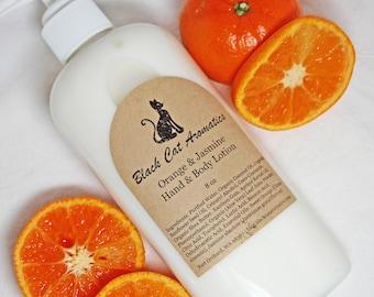 Orange and Jasmine Hand & Body Lotion, Organic Moisturizing Lotion with Orange and Jasmine Essential Oils, 8 oz