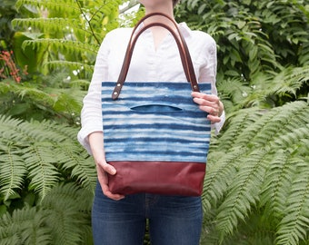 Waxed Canvas Tote Bag, Shibori Indigo, Hand Dyed,  Canvas and Leather Bag