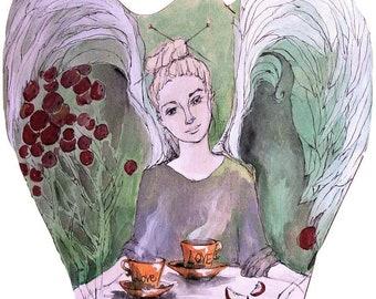 Anioł Syberyjski Obraz Farbami Akrylowymi Na Drewnie Etsy