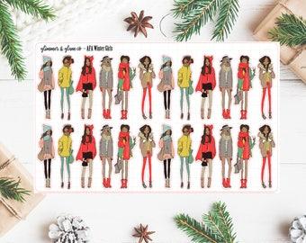 Light skin and Dark skin Winter girls- planner stickers