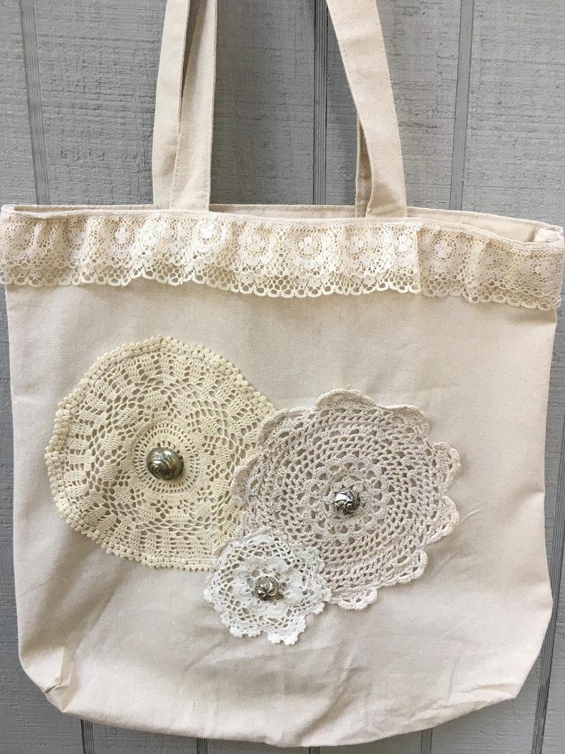 Purse Buttons Unique Tote Bag Vintage Doilies Lace Tote Canvas Bag