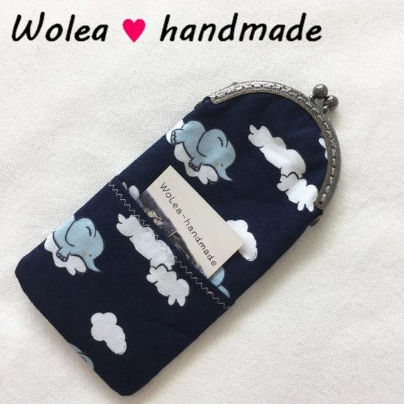 WoleaHandmade Handyh/ülle Stoff Handytasche Brillenetui Cliptasche Blumen Japanische Kirschbl/üte