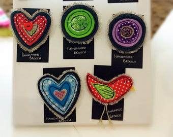 Funky Handmade freehand embroidery fabric brooches