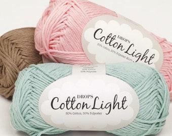 Garnstudio DROPS Cotton Light DK yarn(8ply) 50g, summer yarn, 50%Cotton Yarn, soft cotton yarn