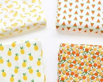 Super cute tropical fruit print pattern cotton fabric/ Pinapple Fabric/ banana fabric/watermelon fabric/fat quarter/ half meter