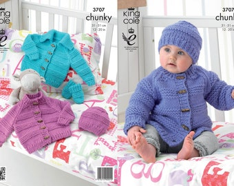 61e6e98e5 King Cole Chunky knitting pattern no 3392 Baby and small