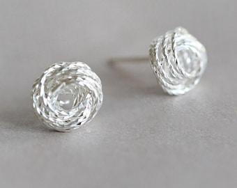 5eb2977e0 Rope knot earrings, 925 silver, handmade rope knot design stud earrings
