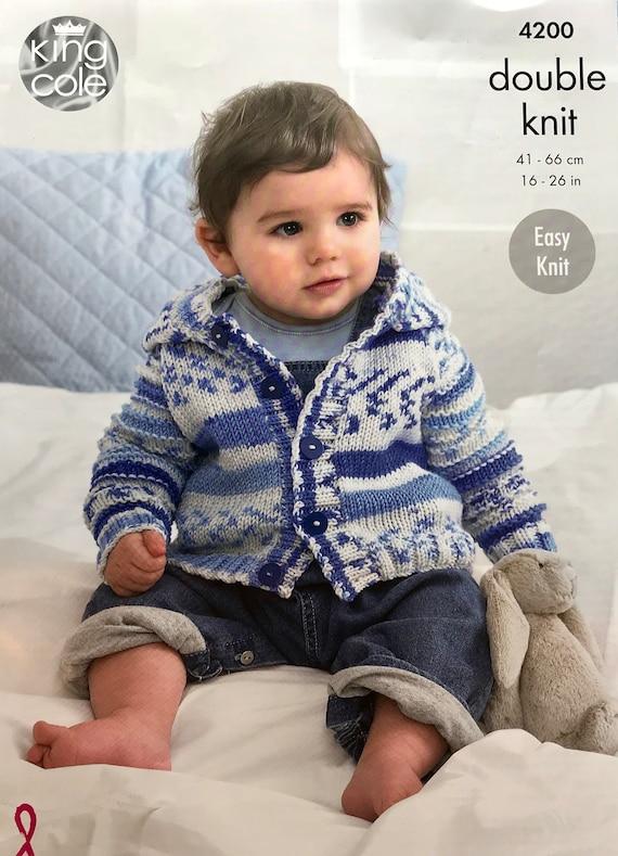 "1711 Baby Boy Girl DK Hooded Jacket /& Jumper 16-26/"" Vintage Knitting Pattern"