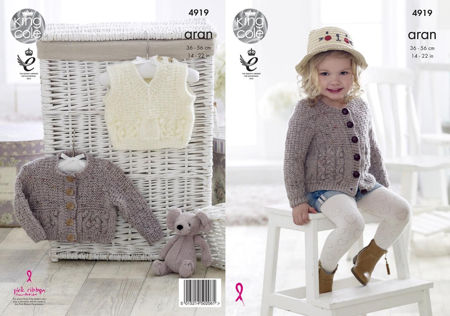 King Cole Aran knitting pattern no 4919 baby Cardigan and   Etsy