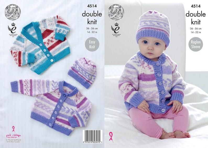 d0dd84baaad4 King Cole DK knitting pattern no 4514. Babies Raglan Sleeve