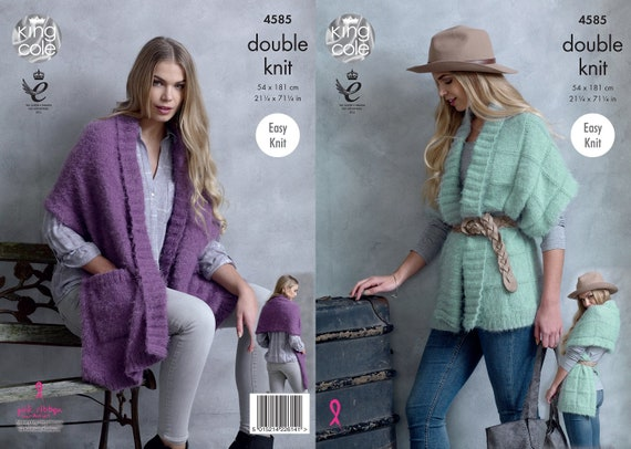 41453f874c57 King Cole DK knitting pattern no 4585. Ladies Wrap Ponchos