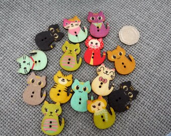 10 x   Muted Coloured Vintage Style Wooden Cat Buttons