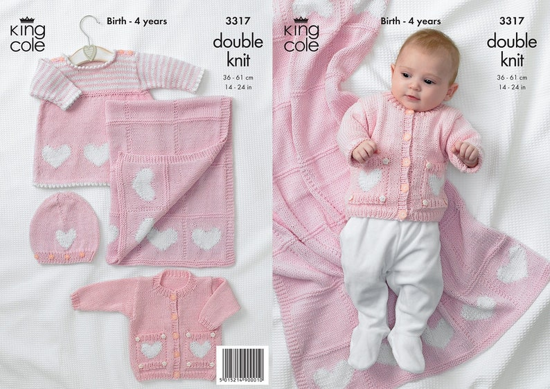 2d0857b020e1 King Cole DK knitting pattern no 3317 baby and girls Cardigan