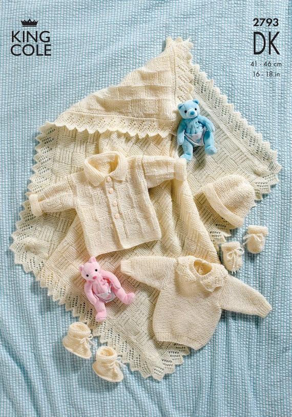 Baby Double Knitting DK Pattern King Cole Striped Jacket Sweater Bodywarmer 3013