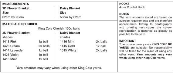 KING COLE 4891 FLORAL MOTIF THROW//BLANKETS ORIGINAL CROCHET PATTERN