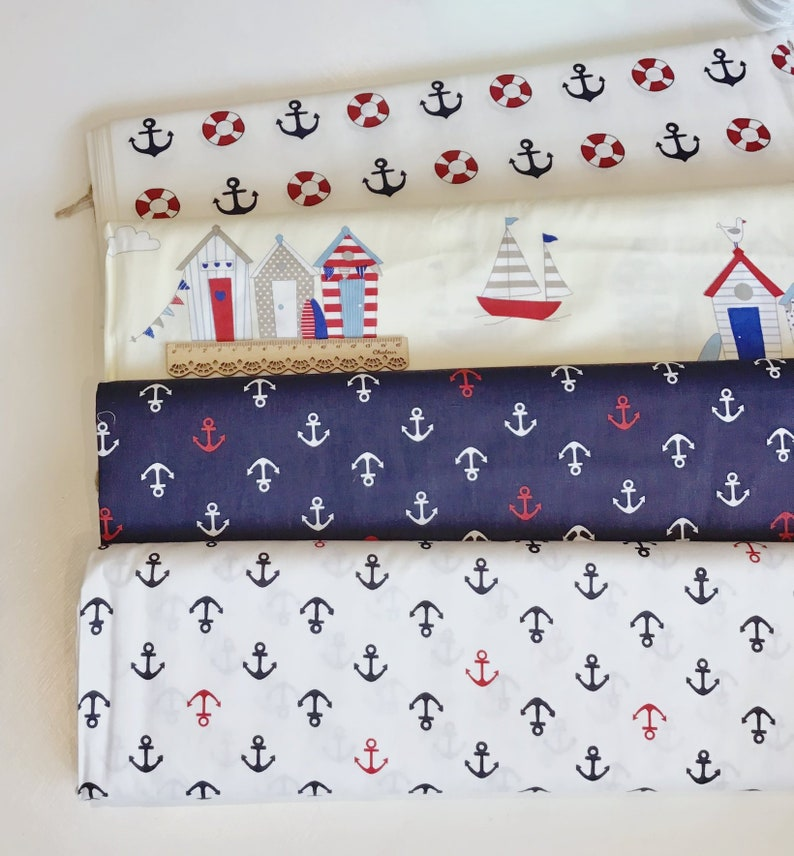 Nautical Royal Anchors 100/% Cotton Fabric Material  sold by Half a Metre