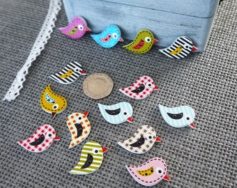 10 x Bright Multi Coloured Craft Bird Wooden Buttons