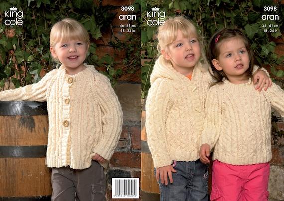 e4bc0f7ee King Cole Aran knitting pattern no 3098 . Childrens sweater