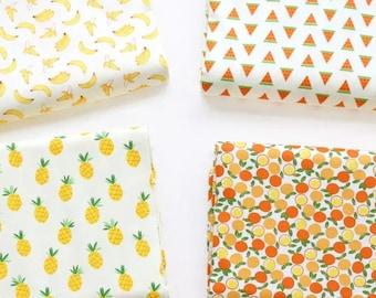 160cm width Fruit fabric, pineapple, banana, watermelon fabric, sample, fat quarter, long quarter, half meter, dressmaking fabric