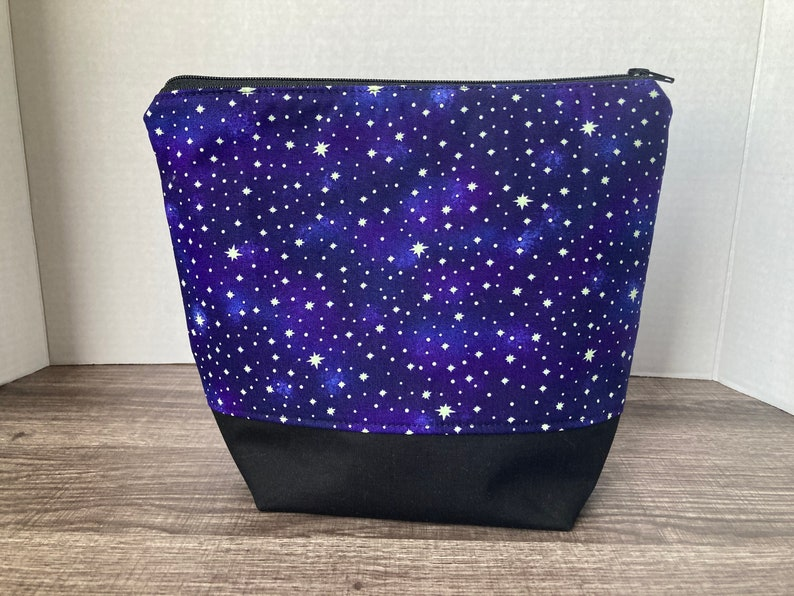 Sock Sized Wedge Bag One Skein Project Knitting Project Bag Knitting Bag stars glow in the dark Zippered Bag