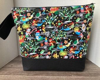 XL Project Bag, Knitting Bag, Wedge Bag, Zipper Bag, Project Bag for Knitting, Sweater Bag, Project bag, Christmas, Under the Sea, mermaids