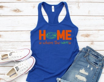 Florida Gators, ladies tank top, Home is where the swamp is, college football shirt