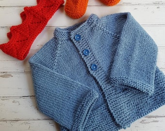 Little Cardigan - Size 00 - Hand Knitted - Pure Merino Wool