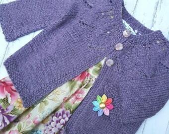 Little Cardigan - Size 1 - Hand Knit - Bamboo/Merino