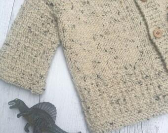 Little Cardigan - Hand Knitted - Size 0 - Merino Wool