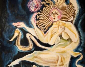 Medusa and the Encounter large oil painting sacred heart surreal portrait mythology