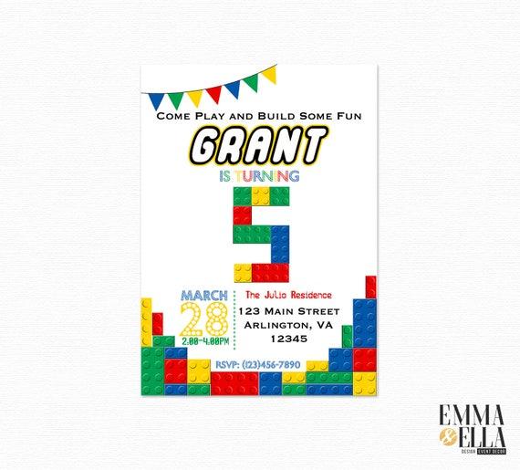 Lego Zaproszenia Na Urodziny Lego Party Zaprosić Lego Etsy