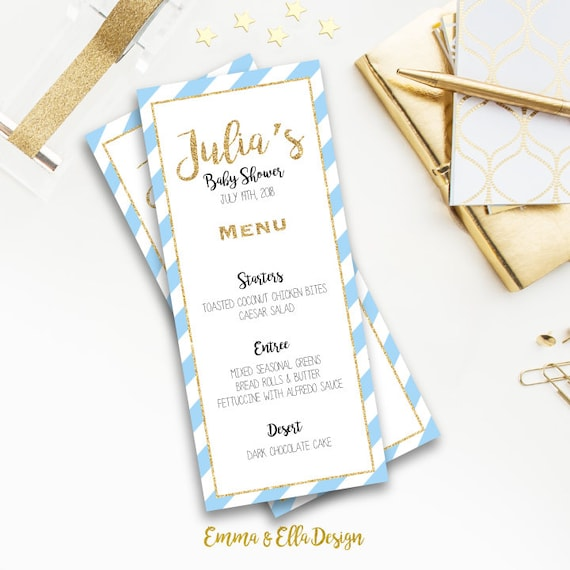 Baby Shower Menu Printable Light Blue And Navy Gold Etsy