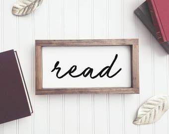 Read Wood Sign Reading SignBook Nerd Bookshelf Decor Farmhouse Fixer Upper Saying Gallery Wall