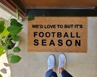 We'd Love To But It's Football Season Doormat, Football Doormat,  Flocked Coir Doormat,  Football Season Doormat,  Chiefs Doormat, KC Chiefs