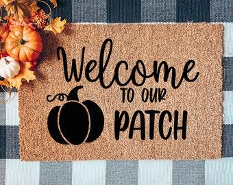 Welcome to our Pumpkin Patch Doormat, Halloween Door mat, Flocked Coir Doormat, Gather doormat, Fall Doormat, Autumn Mat, Pumpkin Doormat