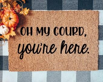 Oh My Gourd Doormat, Oh My Gourd You're Here mat, Flocked Coir Doormat, Halloween doormat, Fall Doormat, Autumn Mat, Pumpkin Doormat