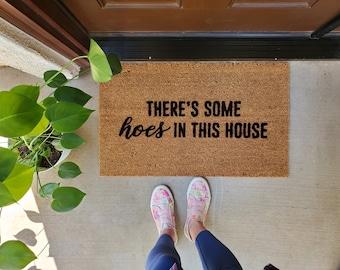 There's Some Hoes in this House Doormat,  WAP Doormat,  Flocked Coir Doormat,  Fun Doormat, Cardi B, best friend doormat