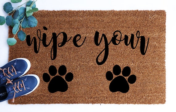 Wipe Your Paws Welcome Doormat Wipe Your Paws Welcome Mat Etsy