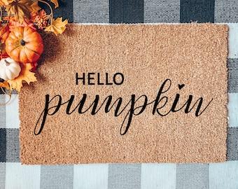 Hello Pumpkin Doormat,  Flocked Coir Doormat,   Halloween Doormat,   Custom Doormats