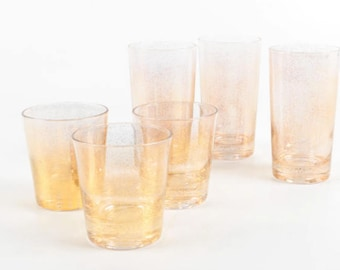 Gold Vintage Low & Highball Glasses - Set of 6