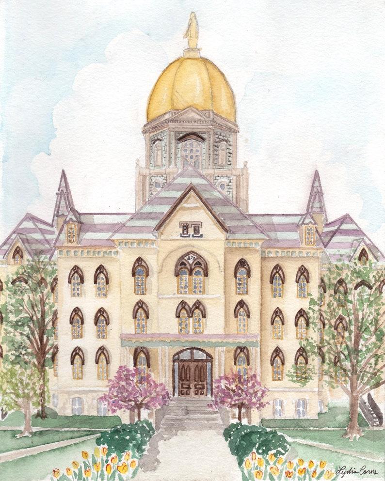 Notre Dame Art Print  Watercolor Painting Golden Dome image 0