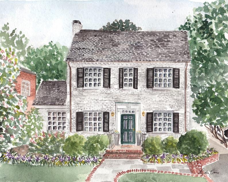 Custom Watercolor House Painting  Custom Watercolor New Home image 0