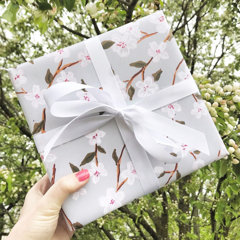 Floral Wrapping Paper  Cherry Blossoms gift wrap spring gift image 1