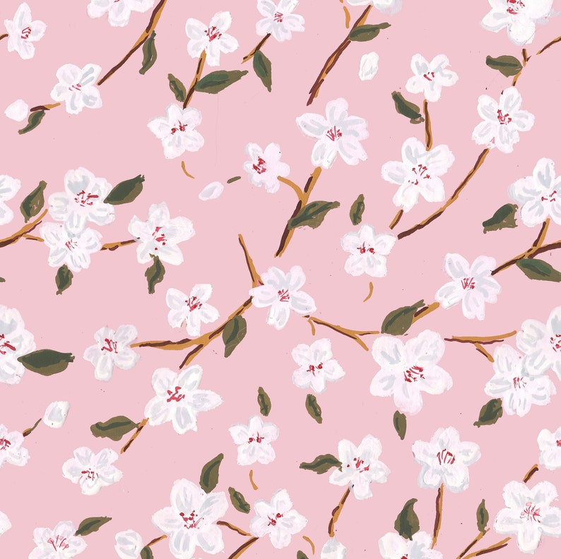 Cherry Blossoms Gift Wrap pink wrapping paper floral gift image 0