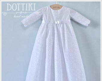 Baby Girl Baptism Gown in White with Long Sleeve, Christening Girl Gown, Baptism Dress, Christening Dress, White Embroidered Dress